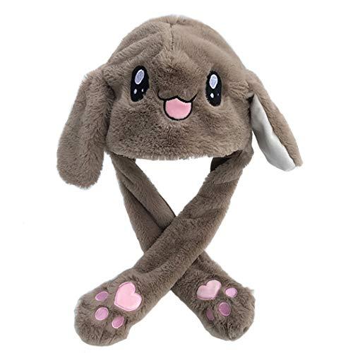 me Flauschigen Plüsch Grau Kaninchen Ohr Hut Spielzeug Geburtstagsgeschenk Drücken der Häschenmütze Wird die Ohren Nach Oben und Unten Bewegen ()
