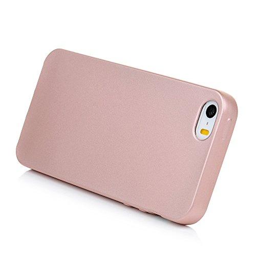 Custodia iPhone 5s,5,iPhone SE Case Silicone Ultra Slim - MAXFE.CO Cover Morbido TPU Gel,Shock-Absorption Bumper,Ultra Sottile Liscio,Superficie liscia - oro rosa oro rosa