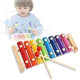 Nomisty Holz Xylophon für Kinder, ungiftig perfekt Glockenspiel für kleine Musiker, Musikinstrument Spielzeug, Schlaginstrument mit Metalltasten Glockspiel aus Holz, mit Geschenkbox (style5)