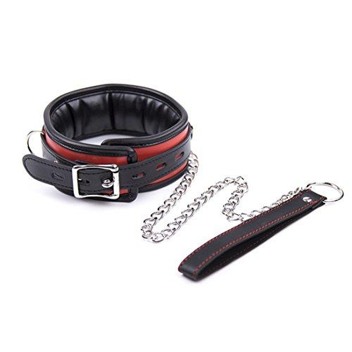 Rapidly Halsband gepolstert Weiche Polsterung Halsfessel Leder SM Bondage Halsbänder mit Leine Sklave Cosplay Erwachsene Sex Spielzeug (Schwarz Rot)