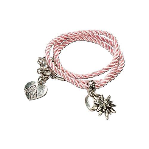 Alpenflüstern Trachten-Wickelarmband Edelweiß - Damen-Trachtenschmuck, Trachtenarmband, Kordel-Armband rosé-rosa DAB026
