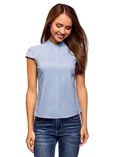 Oodji ultra donna camicia con manica a raglan e collo alla coreana, blu, it 46 / eu 42 / l