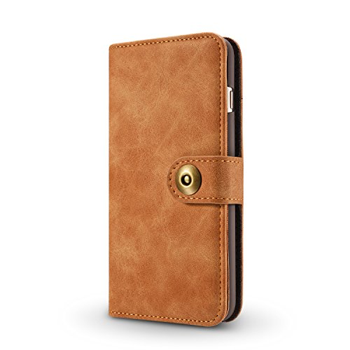 Hülle und Brieftasche,VENTER®removable protective sleeve, 2 positioning options, RFID protection, high-quality vegan leather, gift wrapping für Apple iPhone 6 Plus/6s Plus Kamel