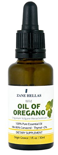 Super 100. Oregano Oil. Undiluted. 100% Wild Pure Greek Essential Oil of Oregano. 86% Minimum Carvacrol. 129 mg Carvacrol Per Serving. 1fl.oz. - 30 ml. Test