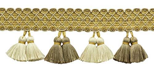 Goldene Farbe Dekorative Trimmen (DecoPro TFAR0300 4,6 Meter Elfenbein, Beige, Gold 83 mm Dornquaste, Fransen, Farbe: Golden Birke - AR01 (15 Fuß/4,6 m))