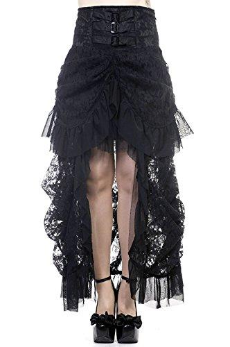 Minigonna nera in pizzo avviato sul fronte burlesque, elegante, stile gotico, Banned nero Medium