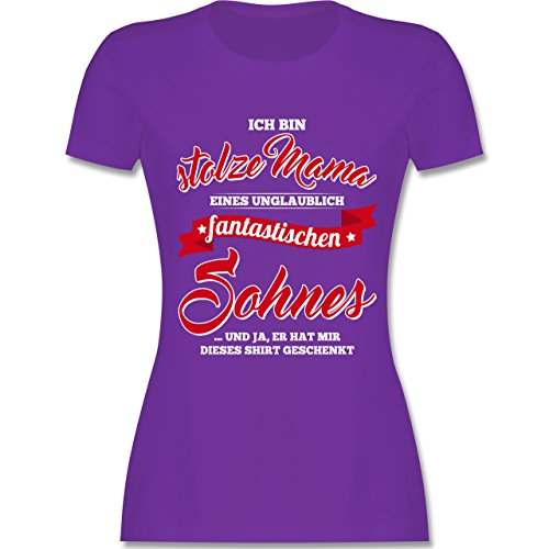 Shirtracer Muttertag - Stolze Mama Eines Fantastischen Sohnes - Damen T-Shirt Rundhals Lila