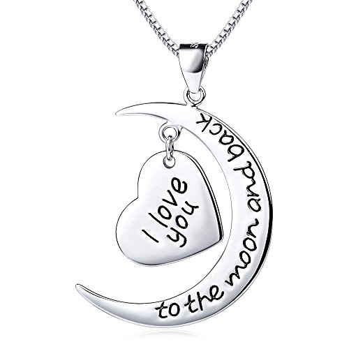 "DEWANG Zweifarbige 925 Sterling Silber Halskette ""I Love You To the Moon and Back"", 18″-Unisex"