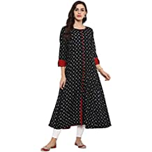 YASH GALLERY Women's Cotton Printed Anarkali Kurta (Black)