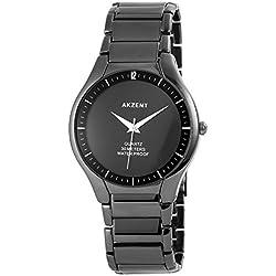 Akzent Herren Analog Armbanduhr mit Quarzwerk SS7071000017 und Metallgehäuse mit Metallarmband in Schwarz und Faltschließe Ziffernblattfarbe schwarz Bandgesamtlänge 22 cm Armbandbreite 22 mm