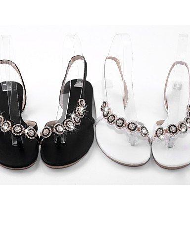 UWSZZ Die Sandalen elegante Comfort Schuhe Frau - Sandalen - Büro und Arbeit/formellen - Praktisch/Toe Ring - Kunstleder - Schwarz/Weiß Black