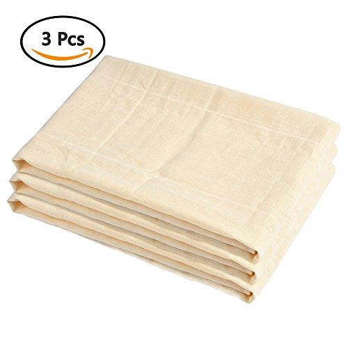 ATPWONZ 3 pcs Telas Filtrantes Reutilizable - 100% Filtro de Algodón Ideal para Colar Leche de Almendras, Zumos y Batidos de Frutas,Bebidas Vegetales,ect
