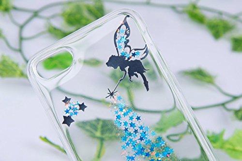 JAWSEU Coque pour iPhone 7 en Silicone Avec Diamant,iPhone 7 Etui Transparent Souple Coque,2017 Neuf Luxe Placage avec Argent Sparkles Brillante Cristal Strass pour Femme Homme,Ultra Mince Thin Doux C bleu