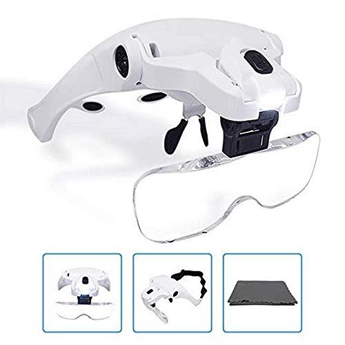 KKmoon Lupe Stirnband Brille Lupe【5 Objektiv/1.0 X-3,5 X/Verstellbare Halterung/mit 2 LED-Leuchten/Lupe Werkzeug】