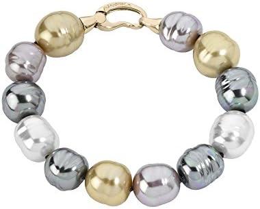 Majorica - Pulsera 21 cm de largo, 12 mm barroco perlas multicolores
