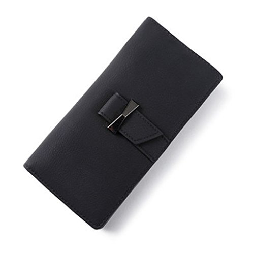 Woolala Donna Slim Portafoglio Bifold Bow Tie Cash Credit Cards Organizzatore Frizione Borsa Lunga Con Tasca Zip Zip, Blu Black