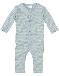wellyou, Schlafanzug, Pyjama für Jungen und Mädchen, Einteiler langarm, Baby Kinder, hellblau neon-gelb gestreift, geringelt, Feinripp 100% Baumwolle, Größe 56-134