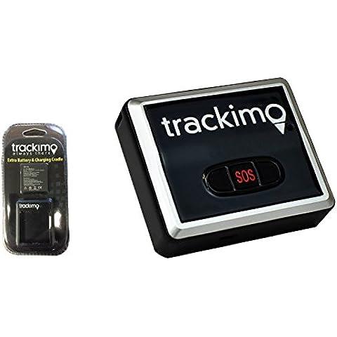 Localizador GPS Trackimo TRKM002 + Cargador de batería USB y batería adicional - Dispositivo pequeño, magnético y personal de localización global en tiempo real para coches, motocicletas, niños, perros, ancianos y equipaje