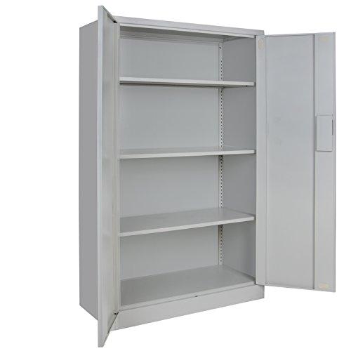 4er Set Spind Büroschrank Aktenschrank 140 x 85 x 39 cm Metallschrank Universalschrank mit 3 Einlegeböden, Höhe frei montierbar Ordnerschrank , Farbe:Grau-Grau