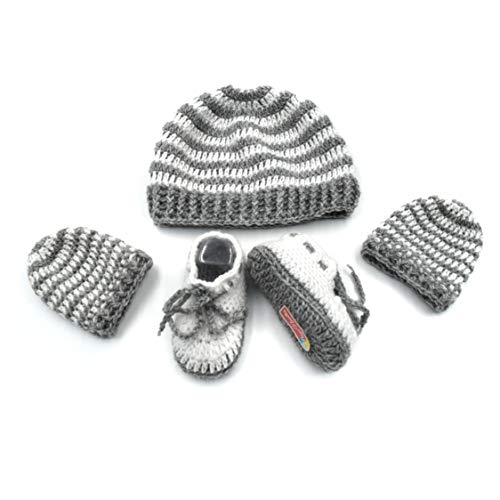 Magic Needles - Juego de Manoplas y Gorra para bebé (Tejido, Ganchillo, Hechos a Mano) Gris Unisex Grey White Stripes 0-6 Meses