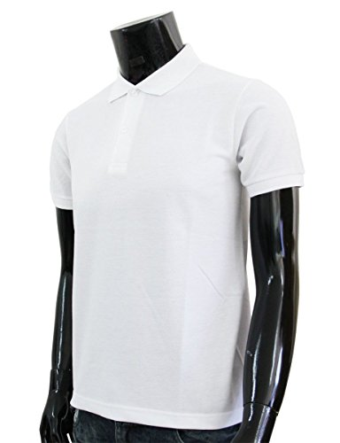 Bcpolo Männer Poloshirt Baumwollpikee beiläufige Kurzarm-Polo-Hemd Weiß