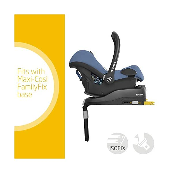 Maxi-Cosi CabrioFix Baby Car Seat Group 0+, ISOFIX, 0-12 Months, Frequency Blue, 0-13 kg Maxi-Cosi Baby car seat, suitable from birth to 13 kg (birth to 12 months) Side protection system for optimal protection against side impact Extra comfortable head support thanks to extra padding 3