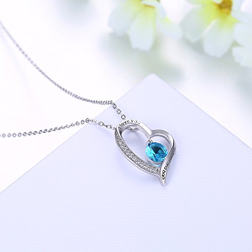 Ray-T Sterling Silber Blau Kristall Herz Halskette Gravur I Love You to The Moon and Back Anhänger Mother 's Geschenk
