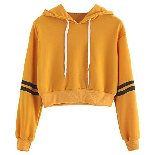 chenpaif Women Girls Long Sleeve Crop Top Hoodies Sweatshirt Striped Casual Pullover Soft Yellow M -