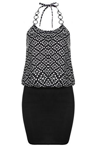 Meaneor Damen Kurz Strandkleid Casual Sommerkleid Neckholder Trägerkleid Ethno Muster Minikleid für Urlaub Schwarz