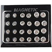 MagiDeal 12 Pares Pernos Pendientes de Imanes Non Piercing 4 mm / 5 mm / 6 mm / 7 mm / 10 mm - 4 mm, 6 mm, 7 mm Blanco (cada tamaño 3 pares)