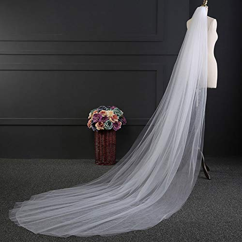 AHIN Schleier,3.0m*1.5m europäische und amerikanische einfache Doppelschicht weiches Garn Brautschleier senden Kunststoff Kamm,geeignet für Hochzeiten,Fotografie,Shows und - Europäische Tanz Kostüm