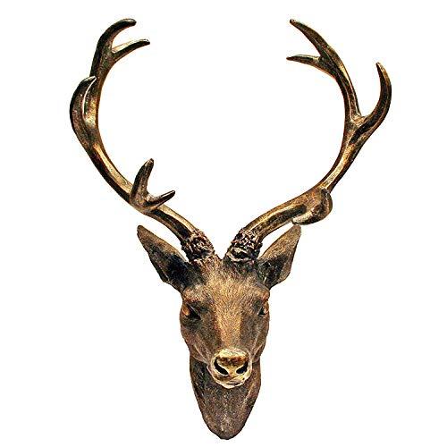 Mojawo Tolles XXL Hirschgeweih Hirschkopf Geweih 10-Ender Bronze Optik 48x32x61cm Figur Skulptur...