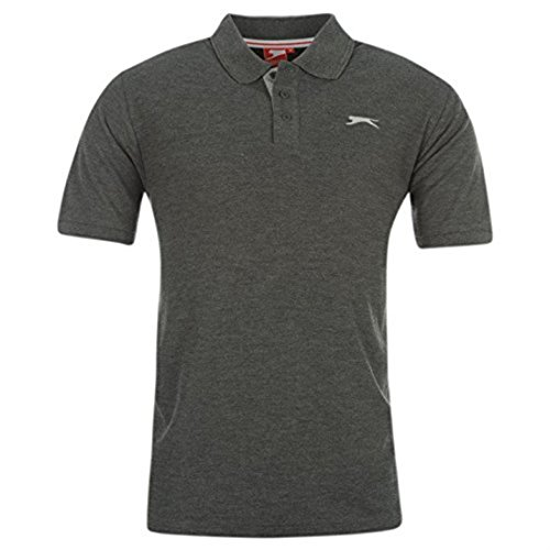 Slazenger Herren Poloshirt, Kurzarm Medium Charcoal Marl (Check-polo-t-shirt)