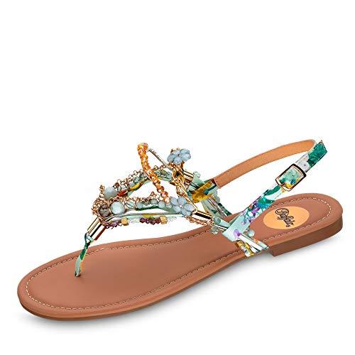 Buffalo 1600074 Damen modische Sandale aus Textil mit Ziersteinen und Perlen, Groesse 41, Mint/bunt