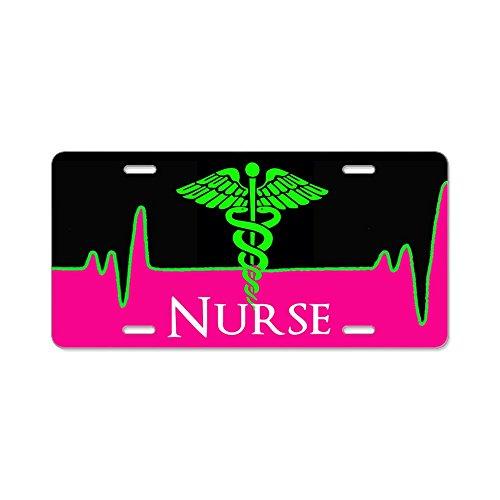 CafePress–Nurse Heart Beat–Aluminium Nummernschild, vorne Nummernschild, Vanity ()