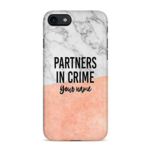 Personalised Custom Name Text Matching Best Friend Patners In Crime Name Coral Pink Marble Initials Schutzhülle aus Hartplastik Handy Hülle für iPhone 7 / iPhone 8 Case Hard Cover -