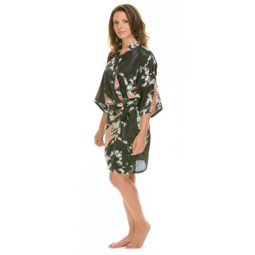 Love Kimono Suki Kimono dreambase-vestaglia, seta Satin kurz Nero