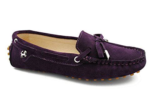 Minitoo Womens Casual confortevole in pelle scamosciata nodo barca Loafer Scarpe Flats Dark Purple