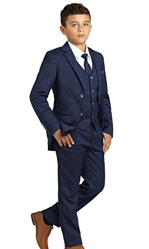 Paisley of London, Jungen Anzug Dunkelblau, Kariert, Slim-Fit-Anzug, Pagenanzüge Jungs, 12 Jahre (Kommunion Für Anzüge Jungen)
