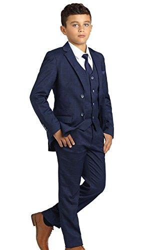 Paisley of London, Jungen Anzug Dunkelblau, Kariert, Slim-Fit-Anzug, Pagenanzüge Jungs, 6 Jahre
