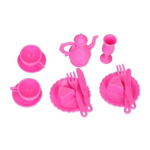 12pcs-Puppen-Essenzimmer-Mininatur-Tisch-Furniture-Rosa-Fr-Barbie-Doll
