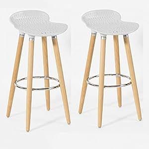 SoBuy® Promotion -30%! 2x FST35-W Lot de 2 Tabourets de bar cuisine avec repose-pieds haute qualité