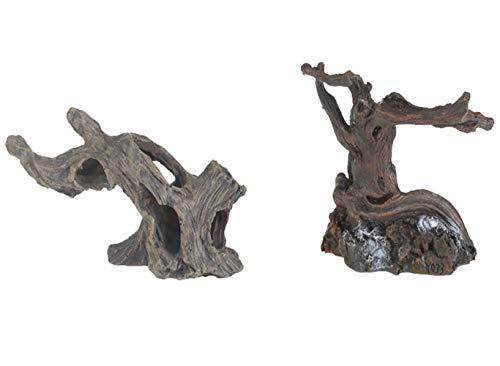 Emours Aquariumdeko Spinnen Treibholz Äste Höhle für Geckos Reptilien Aquarium Aquascape Dekoration, 2 Stück, klein und mittelgroß