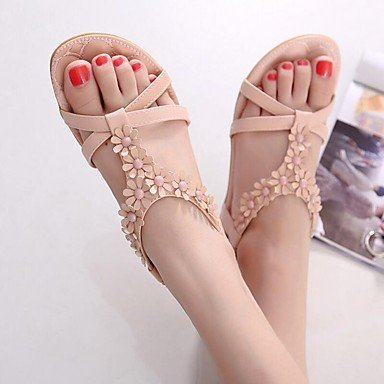 LvYuan Sandalen-Büro Kleid Lässig-PU-Flacher Absatz-Komfort Leuchtende Sohlen-Rosa Grau Pink