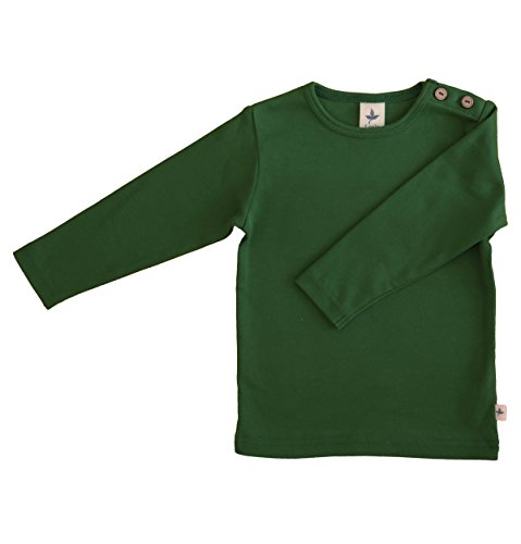Baby Kinder Langarmshirt Bio-Baumwolle GOTS 13 Farben T-Shirt Shirt Jungen Mädchen Gr. 50/56 bis 140 (86-92, grün-Moos)