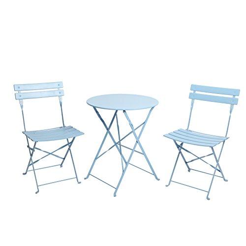 Finnhomy 3Stück Outdoor Patio-Möbel Sets Bistro Sets Stahl Klapptisch und Stuhl Set mit Safe Lock für drinnen und draußen Bistro Tisch Stuhl Sets Backyard/Bistro/Terrasse/Rasen blau -