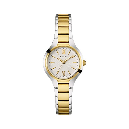 Bulova Ladies Women's Designer Watch Stainless Steel Bracelet - Gold Two Tone Classic Dress Wrist Watch 98L217