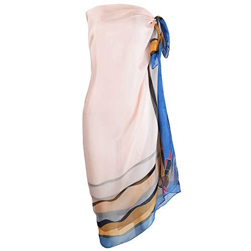 Damen Strandkleid/Sarong mit Blumenmuster - Blau - Large