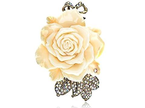 Alilang Antique Golden Tone Cream Enamel Vintage Inspired Rose Flower