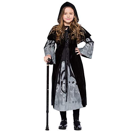 Deman outfit-Artistic9 Halloween Hexe Kostüm Kids Evil Mystic Hexe mit Kapuze leuchtende Cape Kostüme im Dunkeln leuchten Halloween Theme Party Maskerade Cosplay verkleiden Sich für Mädchen - Hexe Mystic Kostüm
